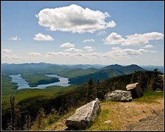 Whiteface 6: View of Lake Placid (Tony Fischer Photography) Tags: road blue sky blackandwhite bw mountain ny newyork green nature rock clouds high elevation whiteface lakeplacid whitefacemountain abigfave