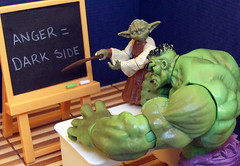 Anger Management. (waihey) Tags: green table toys chalk starwars yoda bored anger class marvel blackboard darkside lessons incrediblehulk