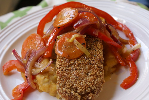 Salmon with sesame seed crust