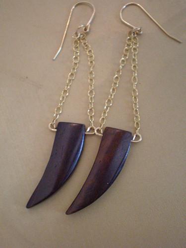 brown horn earrings