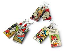 Comix Earrings (weggart) Tags: disney comix mickeymouse earrings offbeat alternativematerialjewelry weggart donaldduckhandmade