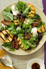 grilled peach salad (mwhammer) Tags: red summer food orange green pepper salad yummy bright farmersmarket herbs sweet sunny fresh busy chorizo alive overhead crunchy active lettuces propstyling mozzarelladibufala foodstyling grilledpeaches melinahammer