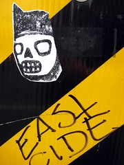 East Cide (Leona Shanana) Tags: black yellow vancouver danger graffiti sticker traffic dtes starheadboy eastcide