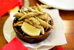Chanquettes - Lightly floured white bait deep fried, served with lemon wedge 10.50 (Vanessa Pike-Russell) Tags: food restaurant lemon review wedge wollongong deepfried whitebait 1050 lamarina chanquettes illawarrafood