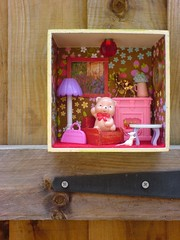 Pink Ted (Rainbow Mermaid) Tags: bear house cute art fire living miniature 3d doll dolls sitting place teddy little box assemblage room small lounge decoration craft kitsch tiny armchair cosy diorama dollhouse rainbowmermaid