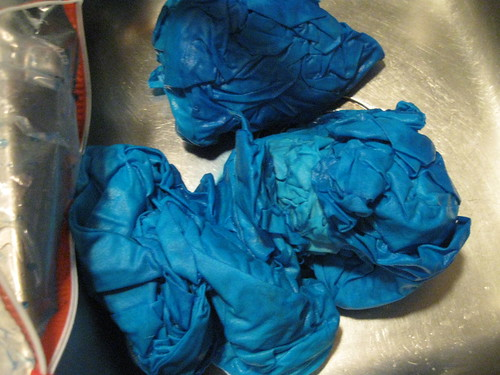 dyed fabric ready to rinse...
