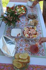 Food Table at Mom's Barbecue (Mr.TinDC) Tags: food bread salad sausage parties shrimp moms foodporn tables garlicbread momsbirthday capresesalad cookouts barbecues insalatacaprese