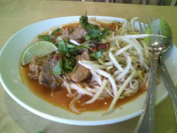 Bua Siam Thai Spaghetti with pork spare ribs and tomato sauce