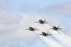 Diamond (Leviathor) Tags: flying bravo jet aerial formation northdakota acrobatics f18 blueangels usnavy fargo fighterjet airsho fa18a diamondformation fa18ahornet