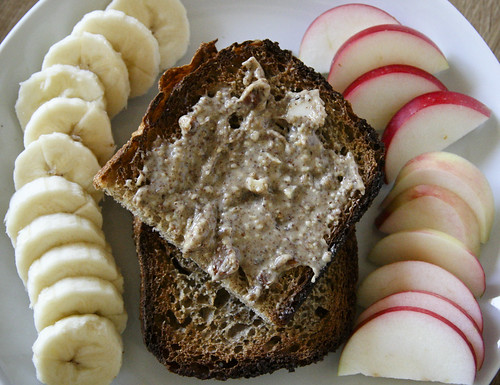 Breakfast: Toast and Almond Butter with Apples and Bananas
