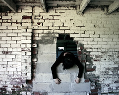 I don't have to love or think too much (Jeannette Rose) Tags: selfportrait girl wall hole bricks creepy disturbing sugajens