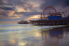 Santa Monica Spin #1 - Santa Monica Pier, California (PatrickSmithPhotography) Tags: ocean california park longexposure travel blue light sunset shadow red sea vacation sky usa sun white seascape black colour reflection history beach wet glass beautiful beauty yellow rock museum sunrise wow dark landscape fun photography gold mirror pier losangeles high sand santamonica scenic wave tourist ferriswheel historical