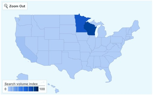 Brett Favre Searches - 2009 - From Google Insight For Search - Products by State