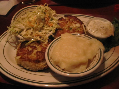 Crab cakes, coleslaw, mashed potatoes, tartare sauce