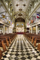 Inside the St. Louis Cathedral (Shawn O'Connell Photography) Tags: color nikon louisiana cathedral neworleans flags fisheye frenchquarter hdr stlouiscathedral saintlouiscathedral d90