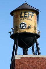 Leff Electric Water Tower: Cleveland, OH (RickM2007) Tags: cone watertower ge watertank leff oldwatertower oldwatertank geelectric steelconetower leffelectric rivetedconetower