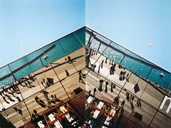 lives in the mirror (cHr1st1an S images) Tags: barcelona city light sea sky people españa sunlight color reflection bird beach colors lines birds analog 35mm mirror mar reflex spring spain diptych flickr heaven barca geometry seagull bcn 35mmfilm yashicat5 t5 analogue nophotoshop nocrop yashica analogic colorfilm analogico negativefilm geometries chr1st1ans christiansorrentino