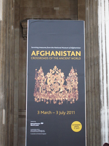 Afghanistan: Crossroads of the Ancient World - signage on the steps of the British Museum