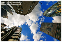 The City of London A.K.A. the Square Mile - London Skyscrapers ~ ART - chitecture  in the Sky ~ (david gutierrez [ www.davidgutierrez.co.uk ]) Tags: uk blue sky urban london art architecture modern clouds skyscraper buildings photo interestingness