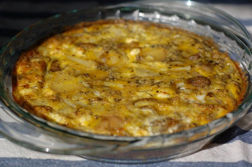 Frittata with chevre, new potatoes and herbs