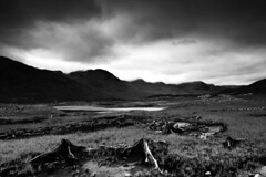 Scotland trip 09 (4) (Jonathan Woods Photography) Tags: wood white mist black mountains skye water grass clouds landscape blackwhite loch bog blackwhitephotos the4elements d700 nikon2470 vosplusbellesphotos