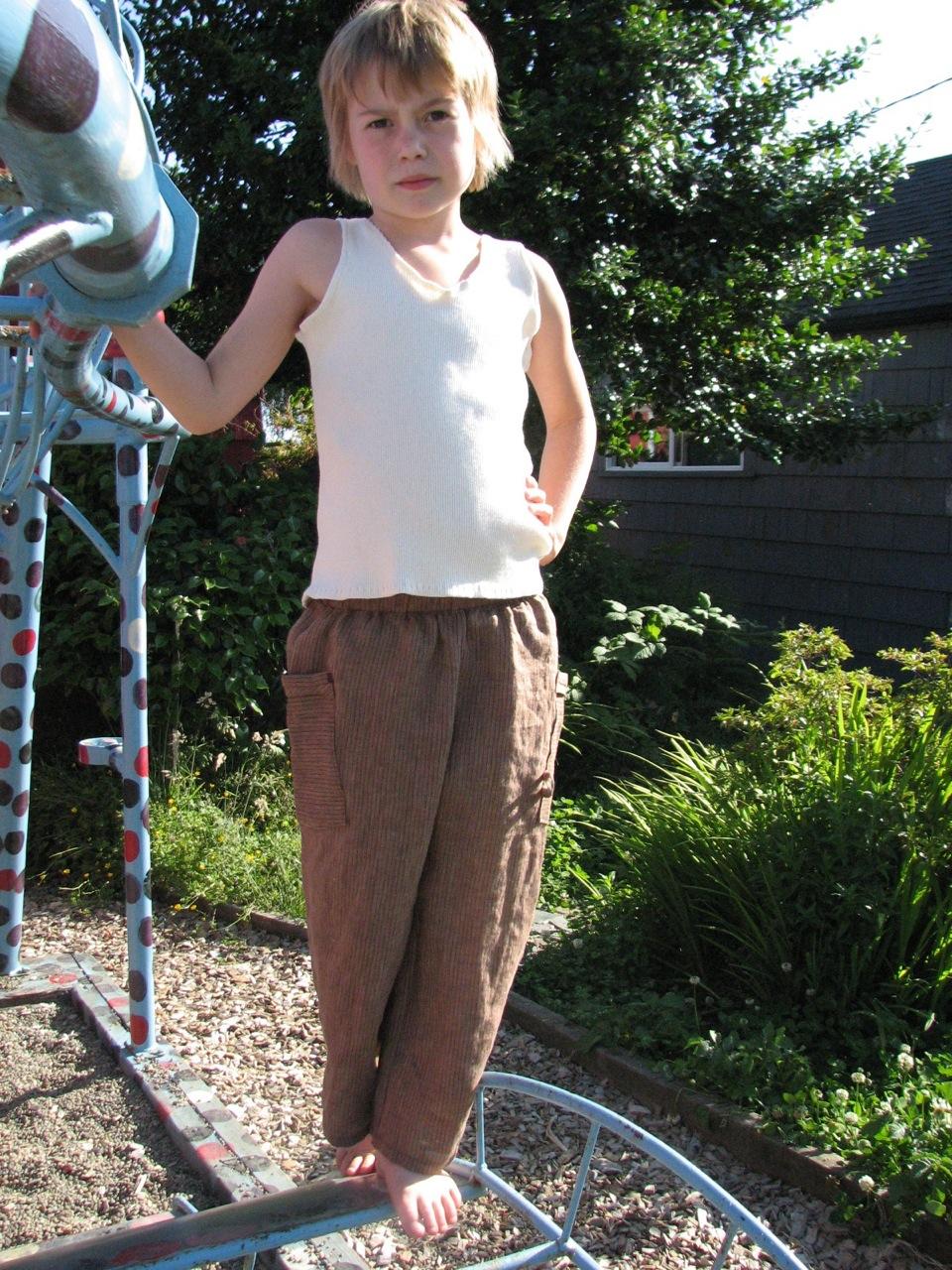 linen pants and hand-sewn top