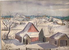 DUNLAP FARM IN GRUNDY COUNTY, MISSOURI BY R. L. HUFFSTUTTER (roberthuffstutter) Tags: snow watercolor reading shadows exercise character praying barns boredom alcoholism lazy depression farms pushups wisdom watercolors 1970s apathy indifference routine selfesteem attitudes despondency attributes distractions dunlapmissouri grundycountymissouri jamesehuffstutter unclejimsmissouri questforfinancialsecurity seekingthesuperficial uncertainambitons watercolorbyrlhuffstutter
