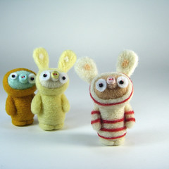 Jimmi Jam in his PJ's (Kit Lane) Tags: wool felted natural felting cream stripey striped needlefelted undyed kitlane
