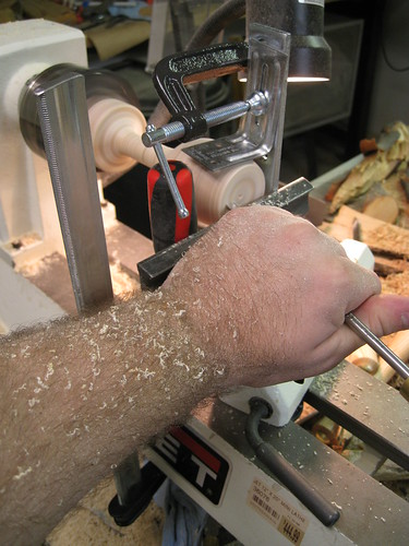 using weird support rig on lathe
