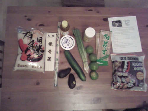 our homemade sushi set up pictured from above