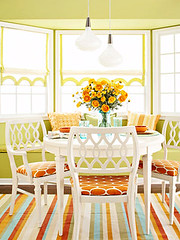 Bright Kitchen via Sunset Magazine (decorology) Tags: blueroom greenkitchen boldcolors floralwallpaper stripewallpaper blackkitchen paintingtrends