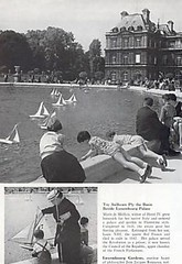 1958 magazine article sailboats at Luxembourg Gardens Paris France (oldsailro) Tags: park old boy sea summer people sun lake playing paris france beach water fountain pool girl sunshine gardens youth sailboat race vintage children fun toy boat miniature wooden pond model waves sailing ship child time yacht antique group boom mat regatta hull sailboats spectators luxembourg watercraft adolescence keel fashioned