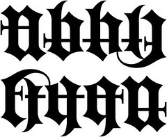 """Abby"" & ""Ethan"" Ambigram - Old English"