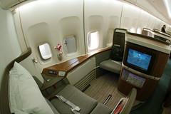 The New Cathay Pacific First Class (Ch.H) Tags: new wood summer fish paris eye clouds cn view pacific first class hong kong seats karl boeing airways runway 2009 cathay spotting hab portholes roissy cdg lfpg bhue 747467 27117970