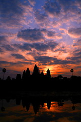Sunrise at Angkor Wat (kees straver (will be back online soon friends)) Tags: colors sunrise reflections landscape cambodia angkorwat tample keesstraver