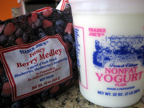 Frozen mixed berries & Nonfat Yogurt from Trader Joe's