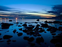 End of Summer Blues (Christopher J. Morley) Tags: longexposure blue sunset canada water vancouver rocks harbour ships smooth stanleypark beautifulbritishcolumbia platinumphoto olympuse3 saariysqualitypictures near2ndbeach