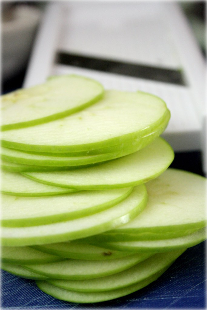Finely sliced apples