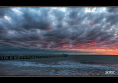 Dramatic Sunset at Henley - HDR (Dale Allman) Tags: ocean sunset sky seascape beach nature water clouds canon lights pier sand surf australia adelaide southaustralia lightpole hdr highdynamicrange 1740 henleybeach 3xp photomatix henleyjetty 5dmkii