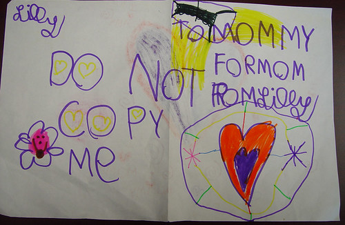 five year old's do not copy me card