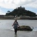 Cindy during low tide at St Michaels Mount