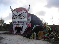 The demolition of Dante's Inferno at Miracle Strip Amusement Park, Panama City Beach, Florida (stevesobczuk) Tags: abandoned ruins riviera florida demolition vacant redneck panamacitybeach miraclestripamusementpark