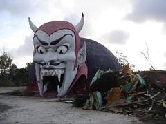 The demolition of Dante's Inferno at Miracle Strip Amusement Park, Panama City Beach, Florida (stevesobczuk) Tags: park abandoned amusement ruins riviera florida demolition creepy vacant redneck derelict panamacitybeach funpark miraclestripamusementpark