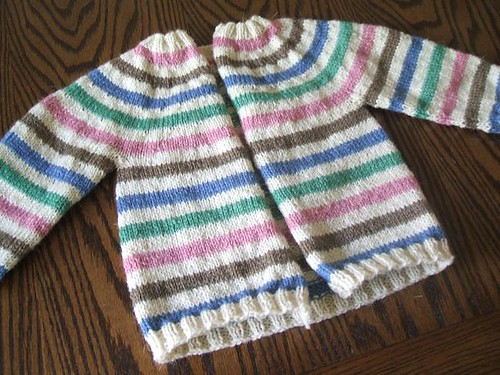 Striped yoke baby cardigan