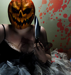 Peter, Peter pumpkin eater, Had a wife but couldn't keep her;     He put her in a pumpkin shell     And there he kept her very well. (Macquillage of Curiosity) Tags: shadow selfportrait home halloween pumpkin costume theater mask theatre fear pumpkinhead samhain horror chiaroscuro allhallowseve knifestripes
