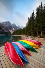 Banff - Moraine Lake (Jesse Estes) Tags: boats canoes banff morainelake canon1635ii jesseestesphotography