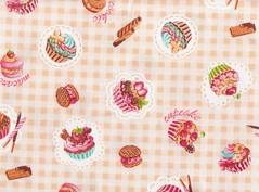 CUPCAKES OVER CHECKS - NATURAL - DETAIL2 (carol-san*) Tags: cute japanese fabric patchwork supplies japon japones crafting haber japonais telas zakka manualidades japaner japons materiais materiales japanische tissus retales fatquarter tezukury teicdo zawaii