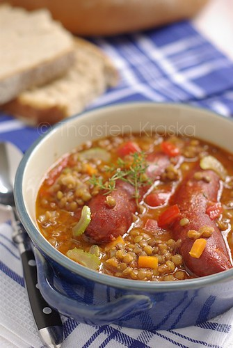 Lentil Stew with smoked sausages
