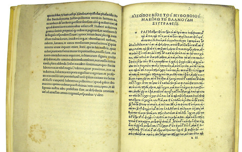 Editor's letter in Latin and the Life of Aesop in Greek in Aesopus: Vita et Fabulae [Greek]