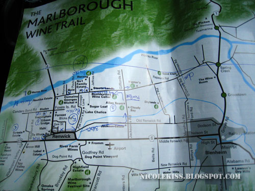 my jotted map of Marlborough wine country